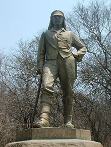 The statue of Livingstone situated at Victoria falls in Zimbabwe. At the Livingstone memorial
