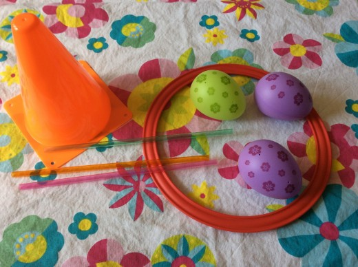 Hoop, eggs and straws