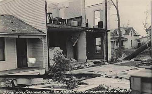 Damage from a tornado in Anoka, Minnesota 1937