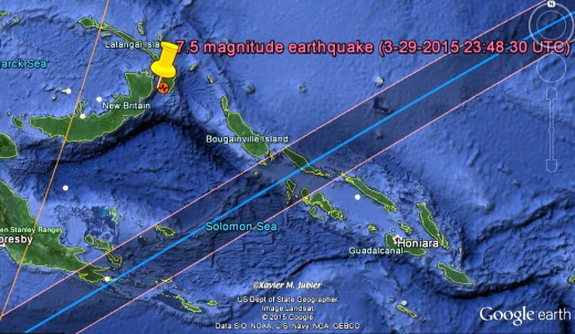 7.45 New Britain (PNG) earthquake of 3/29/2015 and shadow path for eclipse of 5/10/2013, as displayed by Google Maps.