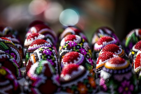 Beaded and dyed eggs.