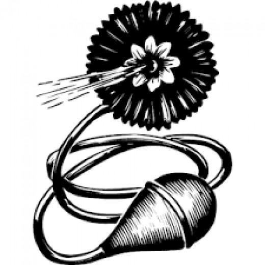 A fake lapel flower that squirts water.