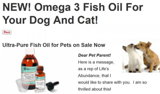 Yes, our pets need omega 3 too