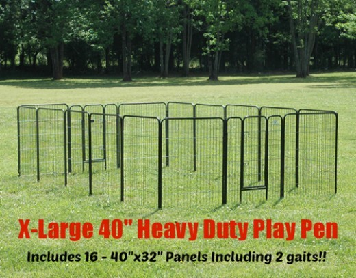 These heavy Duty Dog pens can be used indoors and Outdoors.  They give puppy some room to stretch his legs when you can't be there to supervise him.