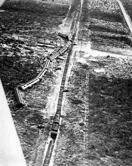 Train derailed by the 1935 hurricane
