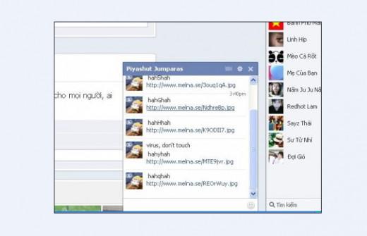 Virus send messenger on facebook