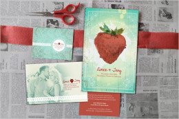 Highlight strawberry in your invitation and use complementary green hue