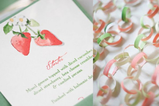 The wedding menu design with strawberries