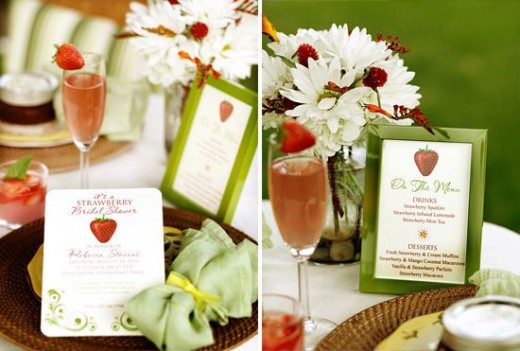 The wedding menu design with strawberries