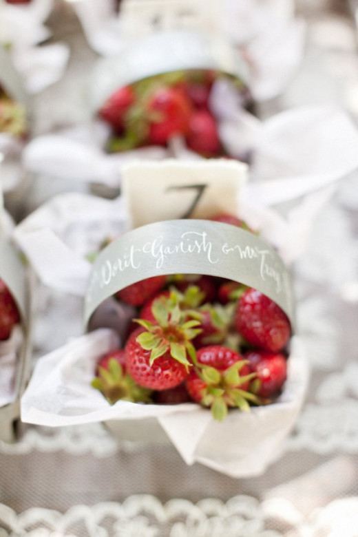 A small basket of strawberries as place cards