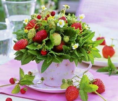 Strawberry arrangement in a tea cup