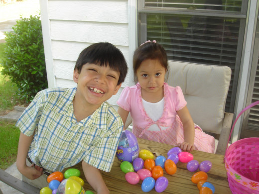 Easter, 2010. The boy's mischief and the girl's fear.