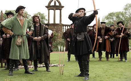 Cromwell shows of his archery skills to Henry VIII in PBS's Wolf Hall.