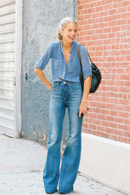 A 70's inspired denim outfit