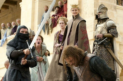 One of the show's remarkable scenes, the day of Ned Stark's beheading for crimes of treason against King Joffrey.