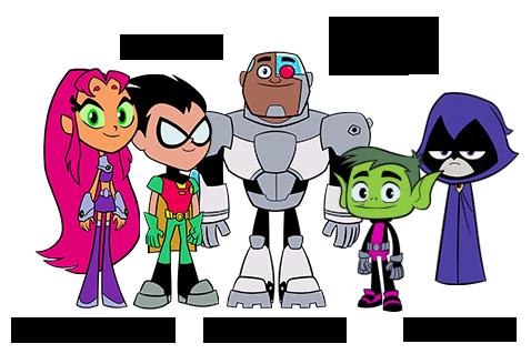 Starfire, Robin, Cyborg, Beast Boy and Raven
