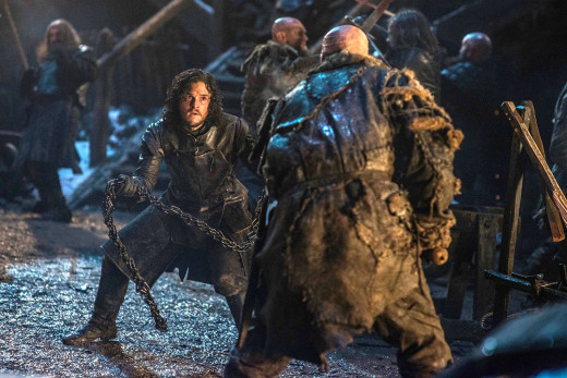 A battle scene between Jon Snow and one of the wildlings who's trying to get across the Wall.