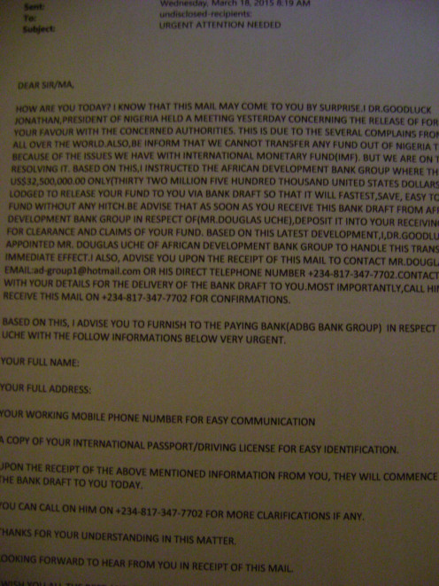 And the scam letters keep coming. When you get a letter like this and want to believe it - read it out loud and see if it still makes sense.