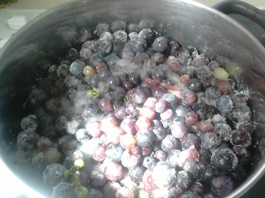 Bring to boil, cover and then simmer until the grapes burst. This will make about three liters (Just under a gallon)