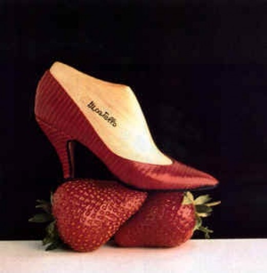 Strawberry red pumps with tiny white details, just like a real strawberry.