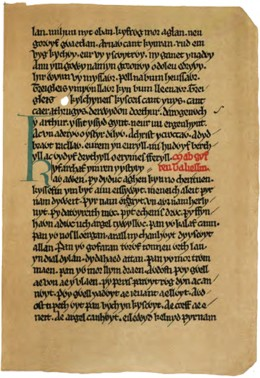 A picture of the Book of Taliesin, in which the story of the Welsh Celtic Goddess Cerridwen can be found.