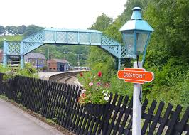 Grosmont Station on the Middlesbrough-Whitby branch as well as the Pickering-Grosmont-(Whitby) NYMR route, complete with BR(NE) tangerine totem