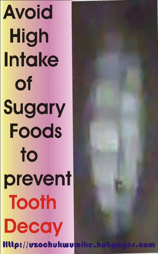 Avoiding high intake of refined sugary foods will help you prevent tooth decay. So, teeth decay can be prevented by taking less refined foods.