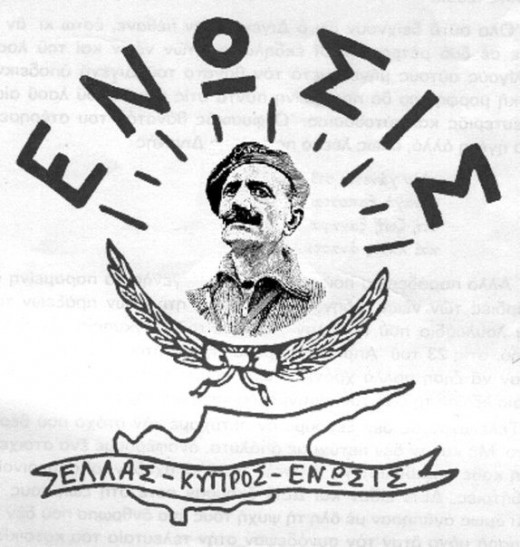"The top banner reads ""Union."" The bottom banner reads ""Greece-Cyprus-Union."" The man pictured is Cypriot General Georgios Grivas."