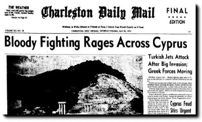 Newspaper headline regarding fighting between Turkish and G.C. forces