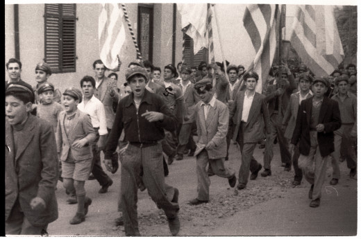 Members of EOKA b marching