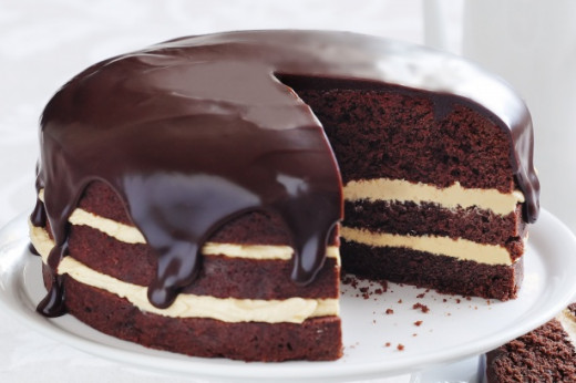This chocolate cake presents a somewhat more challenging recipe in that it consists of three tiers, as well as white chocolate filing and chocolate icing.