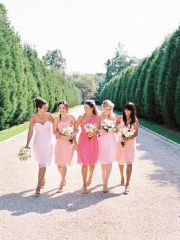 You can also use different shades of strawberry for the bridesmaids dresses...