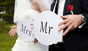 Mr and Mrs is the title given to married couple. The couple in the picture are newly married.