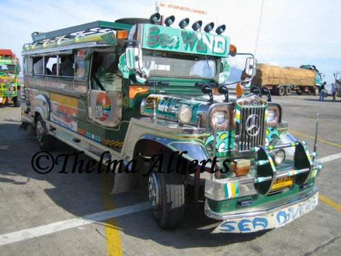 A jeepney is a public transportation in the Philippines.