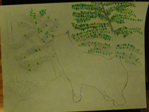 I have colored in more shades of green on the leaves of the scrub oak trees.