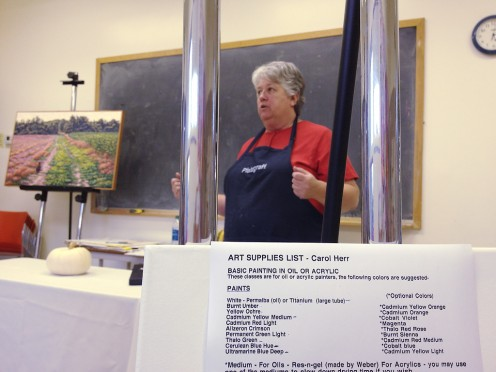 Carol Herr conducting a class in Basic Painting at the LCAA.