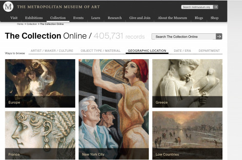 Screenshot of the online collection page at the Metropoilitan Museum of Art
