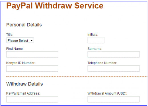 fill in your personal/transaction details