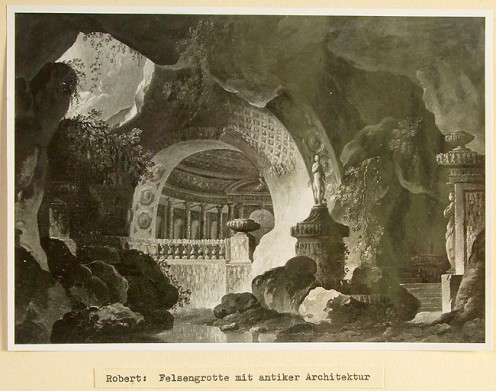 Artist: Hubert Robert Title: Rock Grotto with Antique Architecture Confiscated Collection: KRÄ 6 (Krämer Gallery, Paris)