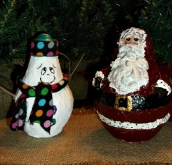 Paper Mache Clay Light Bulb Snowman and Santa