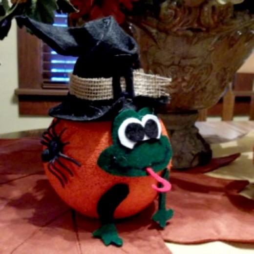 froggy witch pumpkin craft, halloween craft