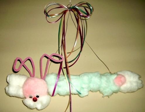 Hanging Cotton Ball Bunny