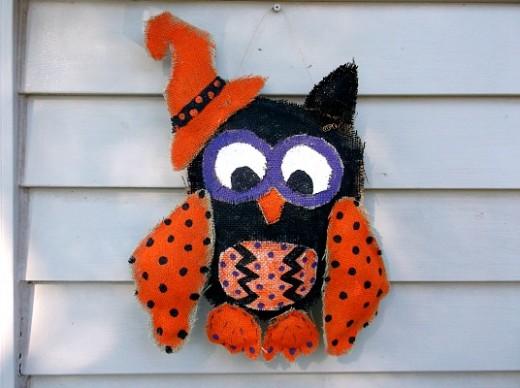 halloween burlap owl door hanger