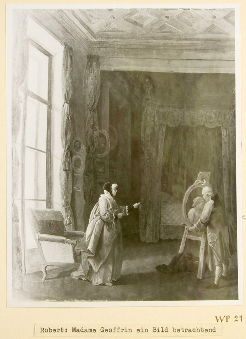 Artist: Hubert Robert Title: Hubert Robert presenting a portrait to Madame Geoffrin Confiscated Collection: WP 21 (Veil-Picard Collection, Paris)