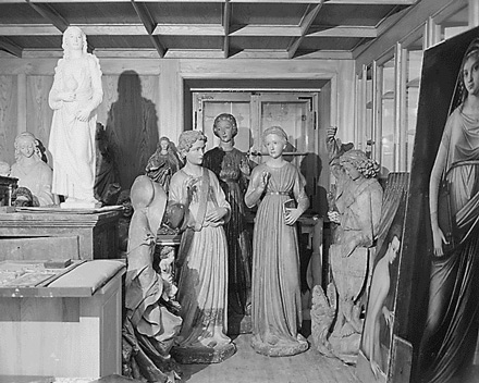 Hermann Goering's art collection, stolen from museums across Europe, is stored temporarily in building near Berchtesgaden while being catalogued, June 9, 1945.