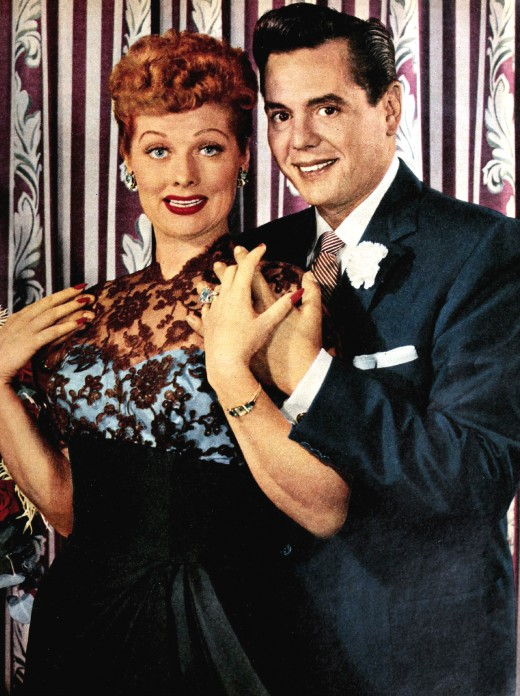 "Lucille Ball born August 1911 died April 1989 was a famous American actress who starred in the ""I love Lucy"" show. Image, with her on screen and real husband Desi Arnaz"