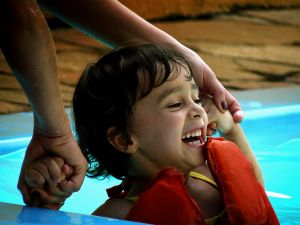 Swimming is a bonding activity.