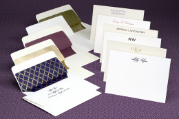 colorful and elegant thank you notes with different fonts and interior envelop colors