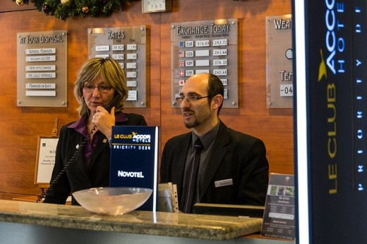 hotel reception with two hotel agents
