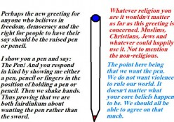 The pen, not the sword.